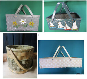 4 Woven Wood Baskets