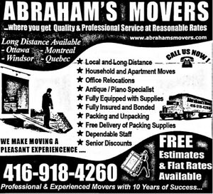 MOVERS AVAILABLE - Abraham's Movers