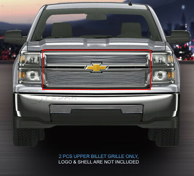 Fits 2014-2015 Chevy Silverado 1500 Billet Grille Grill Upper Grill  2 Pcs