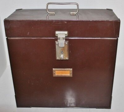 Vintage Metal File storage box case - Brown - With handle/ clasp - cabinet  for sale  Catawba