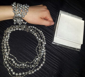Grey Baroque Authentic Pearl Necklace and Bracelet