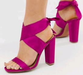 ASOS Wide Fit tie leg Shoes fuschia