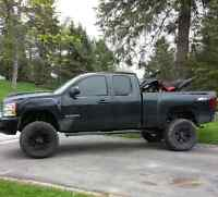 Lifted Chevy 1500 LTZ  For Sale. black leather, reverse camera.