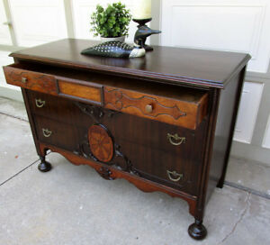 TODAY SALE - ANTIQUE ORNATE 3 DRAWER DRESSER/SIDEBOARD