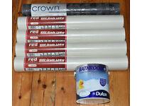 Lining paper 1000 Grade, Dulux Bathroom+ Soft Sheen Emulsion Paint & Crown Wallpaper