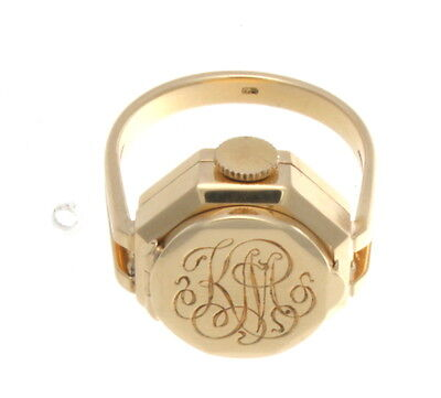 VINTAGE 14K YELLOW GOLD UNIVERSAL GENEVE WATCH RING SIZE 8 1/2