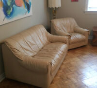 Beige Leather Loveseat and Oversized Chair