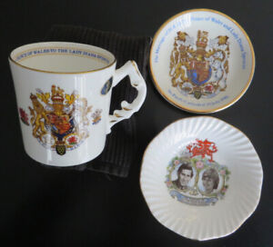 Charles and Diana 1981 Marriage Souvenirs - mug and two dishes
