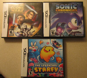 3 Nintendo ds games, star wars, sonic, starfy