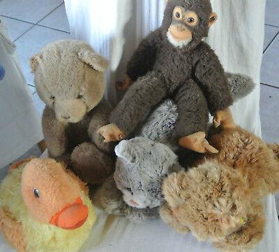 5 Steiff Stofftiere Katze und Bär liegend,Affe,Ente und Bär sitzend