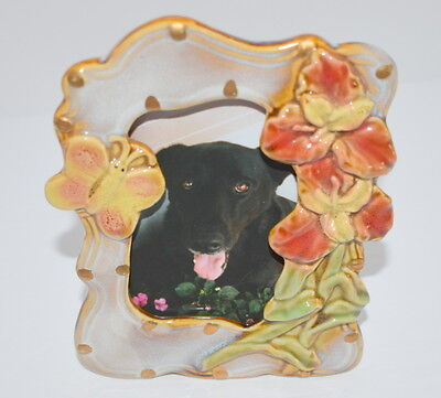 Frame Pottery Ceramic Glazed Tabletop Flowers Butterfly Small Picture Photo for sale  Sharpsburg