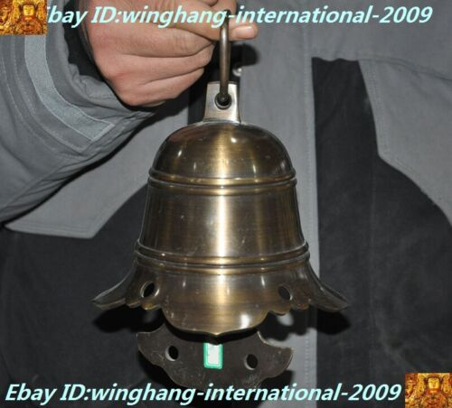 Old Chinese Chinese pure Bronze Feng Shui lucky Bell Chung chimes clock statue