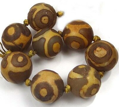 18mm Tibetan Agate Dzi Style Heaven Eye Round Beads (8 pcs)