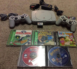 Playstation 1 Slim with 2 Controllers and 5 Child Friendly Games