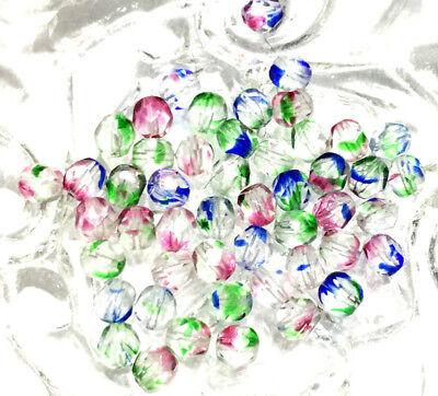 - 6mm Czech fire Polished 50 Beads Transparent Crystal Rainbow Beads