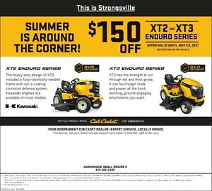 CUB CADET LAWN TRACTOR,spring special xtra $150,off, 0% fin 3yrs