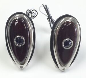 Hot Rod 1938-39 Ford Tear Drop Tail Lights W/ Blue Dots Pair