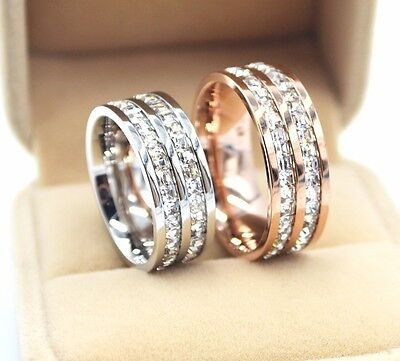 8mm Gold/Silver/Rose Gold Titanium Steel Double Row CZ Ring Wedding Band Sz 5-10 8mm Double Row Band Ring