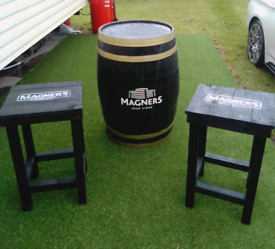 Magners Oak whiskey barrel with matching stools