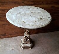 ANTIQUE MARBLE TOP TABLE WITH BRASS CHERUBS STAND AND BRASS RIM