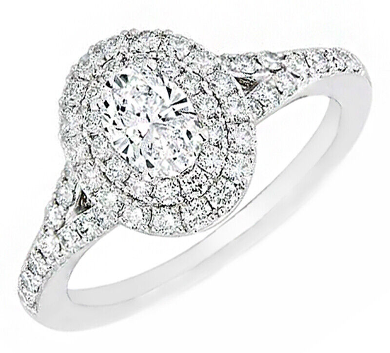 GIA Certified Diamond Engagement Halo Ring 2.42 CTW Oval & Round 18k White Gold