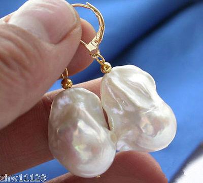 REAL HUGE AAA SOUTH SEA WHITE BAROQUE PEARL EARRING Drop South Sea Earrings