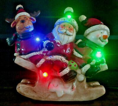 "Adorable ChristmasTrio Sled Ceramic Light Up Figurine for Christmas 8""x7.5"" Tall"