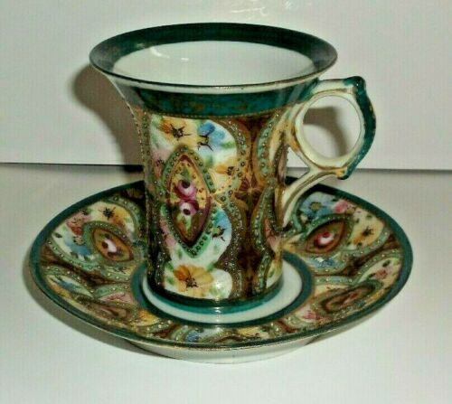 Cup and Saucer ~ Green with Floral Design ~ Moriage ~ Unsigned