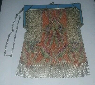 1920s Handbags, Purses, and Shopping Bag Styles Antique Mesh Gold & Multi-colored Ladies Bag Circa 1920's Whitting & Davis $199.80 AT vintagedancer.com