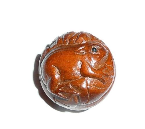"""Frog Round Hand Carved Boxwood Shank Button - Approx. 1"""" diameter Cute Frog Toad"""