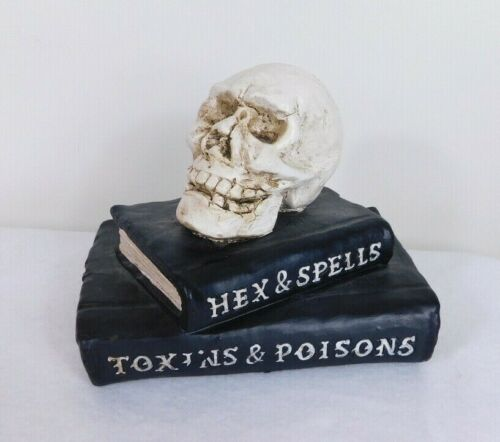 Halloween Haunted House Ceramic Skull & Spell Books Display Prop Statue