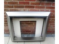 Stainless Steel & Marble Fire Surround