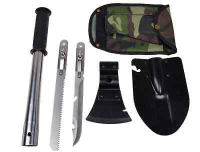 camping shovel survival kit knife blade axe 4 in 1 combo kit