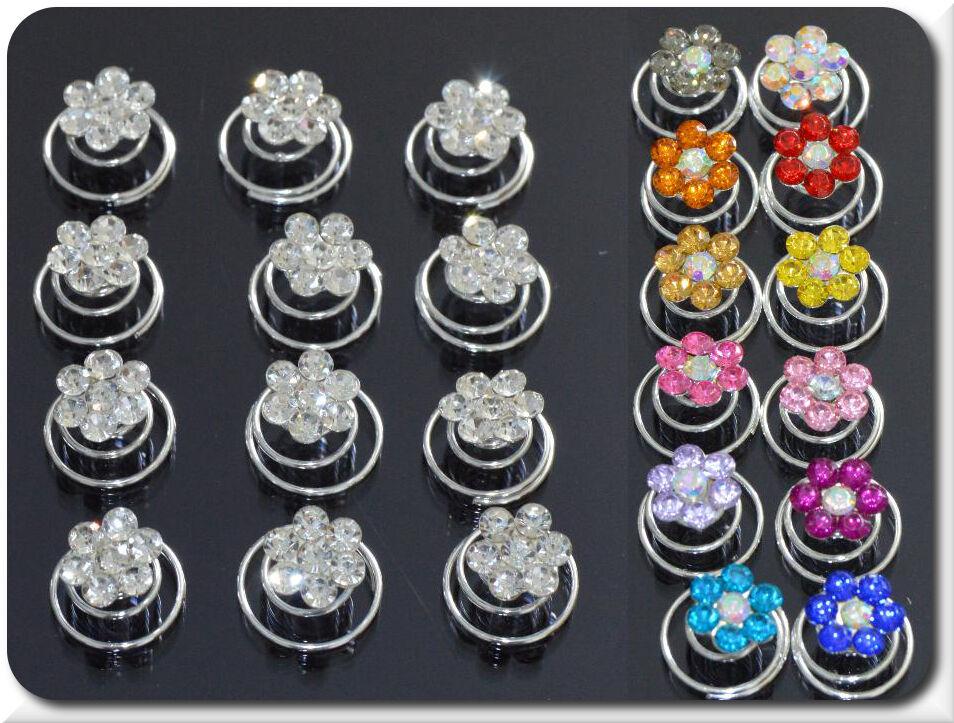 Set 10 Curlies Haarspiralen Blumen Strass 17 Farben Braut Kommunion Hochzeit