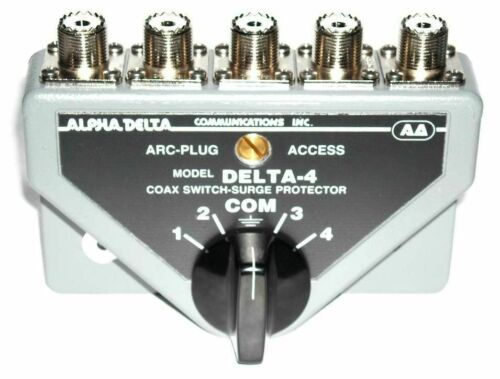 Alpha Delta 4B - 4 Position HD  Coax Antenna Switch, UHF SO-239 w/ surge