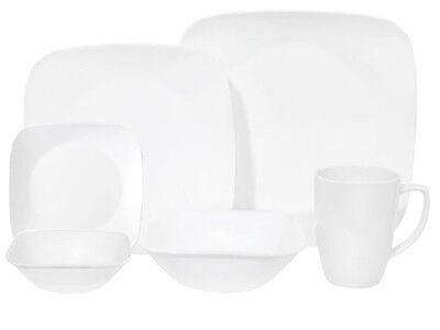 24 pc Corning PURE WHITE SQUARE Dinnerware Set w/BREAD Plates & 10 oz BOWLS