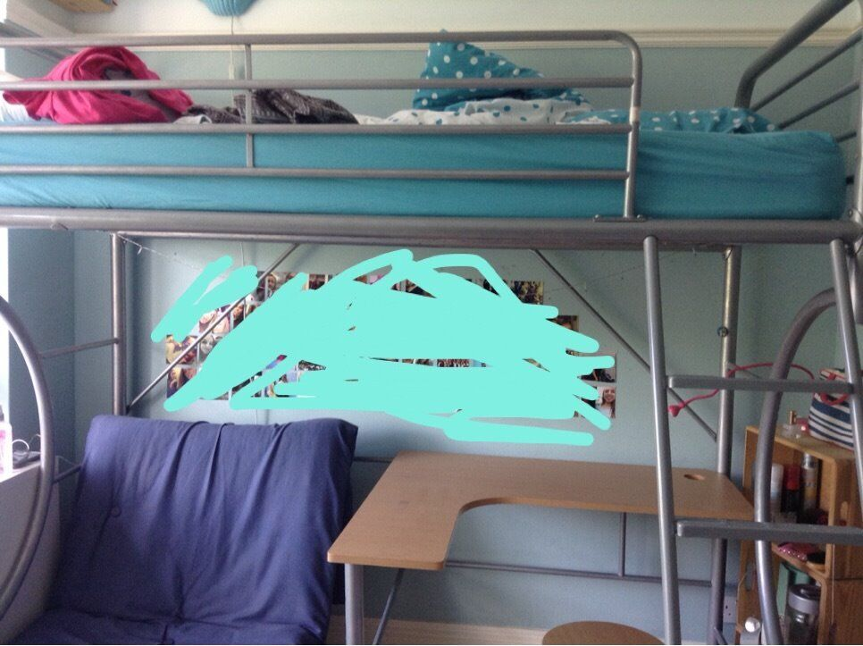 High level single bed with built in desk & futon