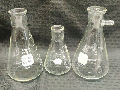 Lot Of 3 Pyrex Kimax Laboratory Glass Erlenmeyer Flasks 250500ml Filtering