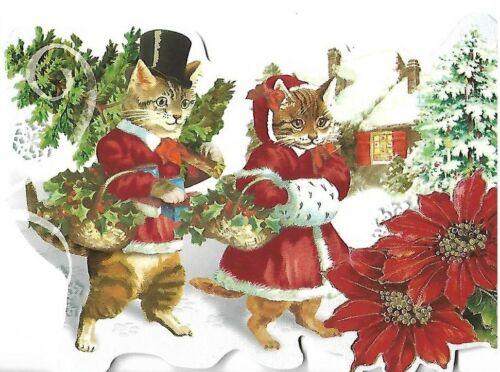 "PUNCH STUDIO Christmas Card - approx 5 x 4"" - Mr & Mrs Kitten Top Hat"
