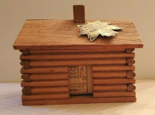 WOODEN LOG CABIN ADVERTISING BOX Maple Grove Candy St. Johnsbury Vermont VT