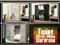 Brand New Luxury Sliding Door Twiot Wardrobe in Black, White, Oak Fast delivery in all over UK