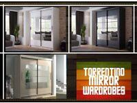 ☑️AMAZING LOWEST PRICE☑️BRAND NEW UNIQUE DESIGN TORRENTINO SLIDING WARDROBE IN BLACK/WHITE/OAK COLOR