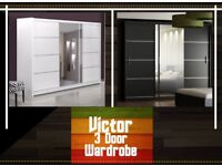 🚚LIMITED TIME OFFER🚚BRAND NEW LUXURY VICTOR 3 DOOR SLIDING WARDROBE WITH MIRROR★BLACK WHITE COLORS