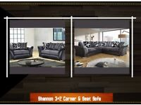 **Clearance Sale**New Luxury Shannon 3+2 Seat and Corner Sofa Set in Black/Grey Color at Cheap Price