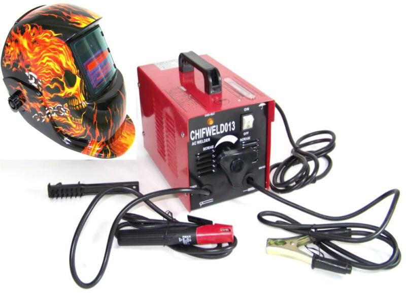 Arc Welder Machine STICK  Rod 100 amp 110 v & Flame Auto Darkening Helmet  Mask
