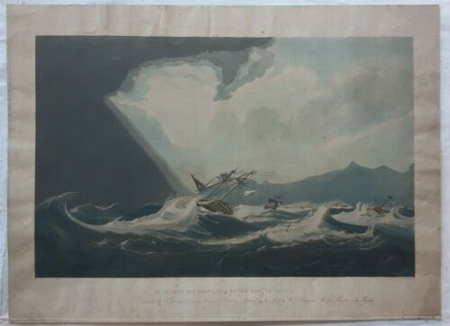 MAURITIUS Isle of France. Big aquatint engraved by E. Duncan. scarce naval