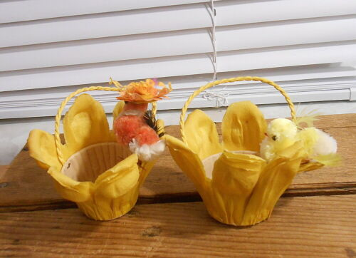 Vintage Easter Tulip Crepe Paper Nut Cups with Chenille Chicks