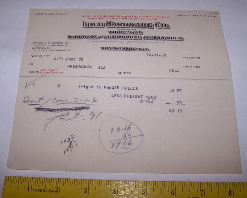 1930 LOEB HARDWARE CO Store Invoice MONTGOMERY ALABAMA