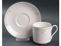 H5084 ROYAL DOULTON CARNATION FINE BONE CHINA DEMITASSE COFFEE TEA CUP & SAUCER X12 - £48