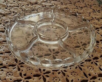VINTAGE♢ 6 SECTIONAL HEAVY CLEAR GLASS ♢ 9.5